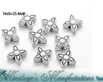 Antique Silver Finish 4 Petal Flower Spacer Beads 8.8mm