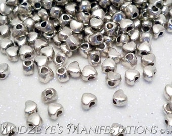 Antique Silver Finish Heart Spacer Beads 4mm