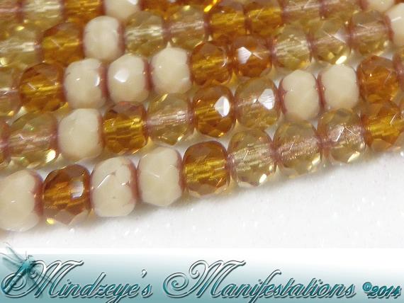 Jewellery Making Czech 6mm Firepolish Matte Sand Faceted Round Beads x25