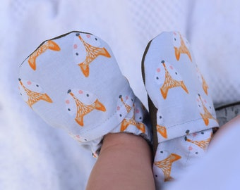 Fox Baby Shoes // Grey Gray Orange, Sly Foxy Tula Moccs, Infant Shoes, Baby Booties, Baby Moccasin, Crib Shoe, Boy Girl Gender Neutral Shoes