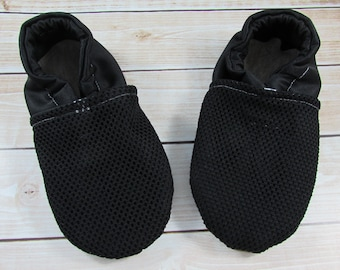 Baby Water Shoes, Black Mesh Swim Moccs, Toddler shoe, Soft Soled Shoe, Beach Shoes, Gender Neutral Cabooties Swimming Moccasins, Pool Shoes