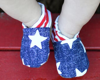Starstruck Cabooties // Patriotic booties, Gender Neutral baby, Toddler shoes, Soft Soled shoes, Tula Accessories,  Red White and Blue, July