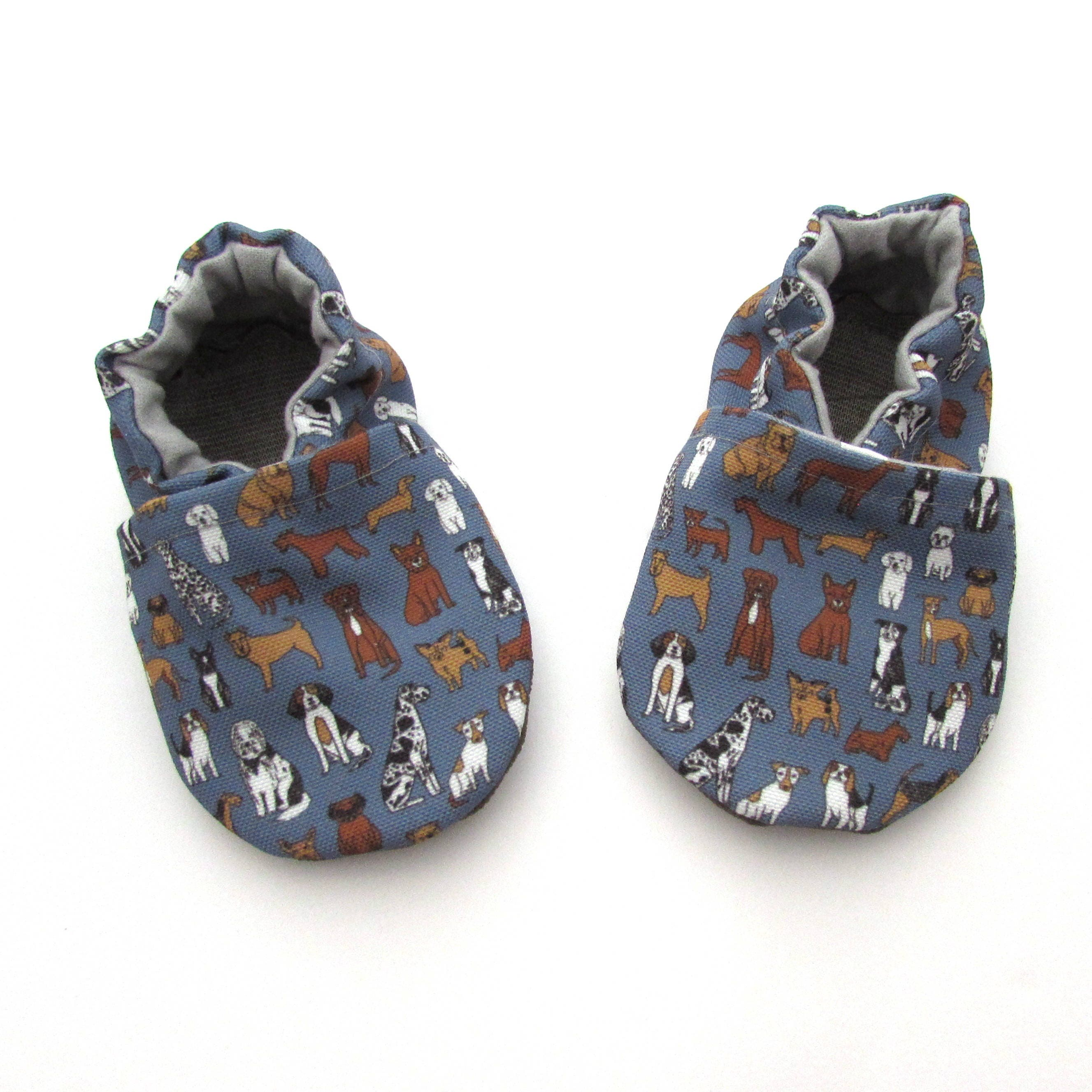 7a2ea1cf3f64 Dog Baby Shoes    Blue Eco-Canvas Baby Booties Gender Neutral