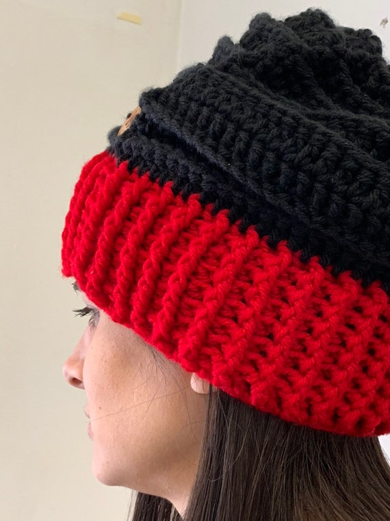 5abc6848f75 Free Shipping Red Black Slouchy Hat Fall hats for Men