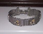 vintage Goldette silver mesh pearl bracelet