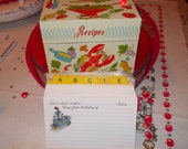 vintage ohio art metal recipe box with recipe cards