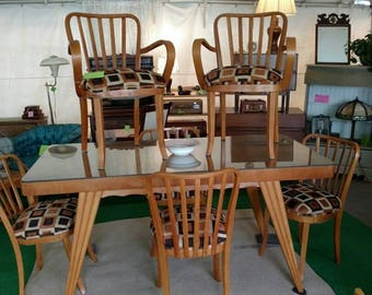 SALE Antique Italian Wood Mid Century Modern Dining Set Table And Six  Chairs MCM Kitchen Chairs And Table