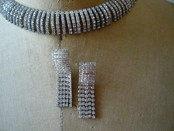 Vintage Austrian Crystal Rhinestone Silver Tone Ch