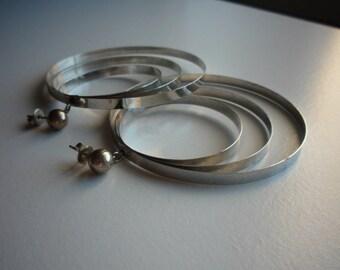Vintage Stainless Steel Large Triple Hoop Earrings