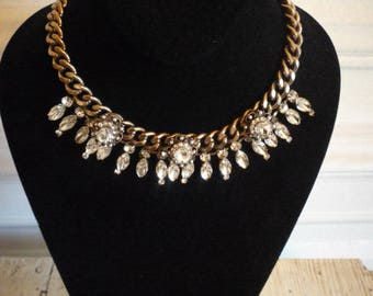 Vintage Chunky Gold Tone Faceted Clear Rhinestone Faux Pearl Necklace Wedding Bridal