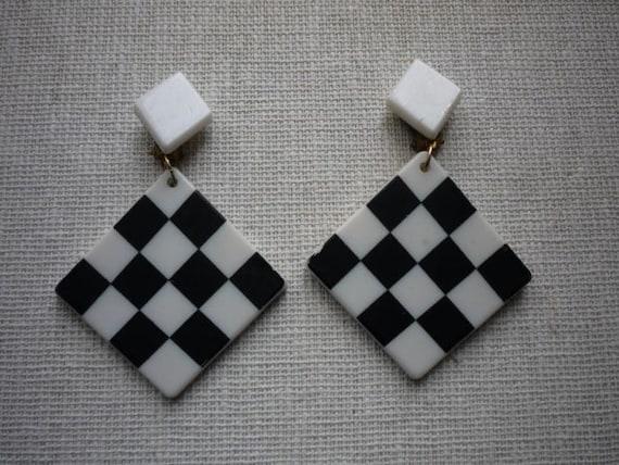 Vintage Mod Lucite Black White Checkerboard Mod Da