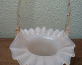Ruffled FENTON GLASS BASKET with Handle. Pale Pink Glass Basket with Handle. Vintage 1943-1954