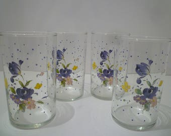JUICE GLASSES. A Set of FOUR Juice Glasses From The 1980's. Pretty Floral Design Juice Glasses