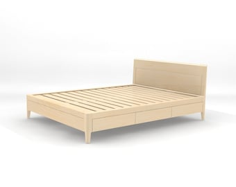 Storage bed plans King Size Maple Storage Bed Platform Bed No Modern Wood Bed Full Queen King Drawers With Soft Close Etsy Storage Bed Plans King Size Platform Bed No Measured Etsy