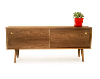 Credenza with Sliding Doors - Mid Century Credenza - MCM Inspired - Solid Wood Media Console - Danish Modern Design - Entertainment Center
