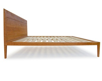 Cherry Platform Bed No. 1 - Modern Wood Bed Frame - Twin, Full, Queen, King - Danish Modern Inspired, Solid Wood Bed