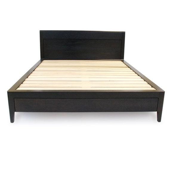 Ebonized Black Walnut Storage Bed   Solid Wood Bed With Drawers   Platform  Bed With Storage