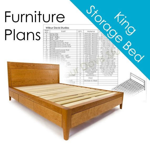 Storage Bed Plans King Size Platform Bed No 2 Measured Drawing And Cut List Modern Mid Century Woodworking Design