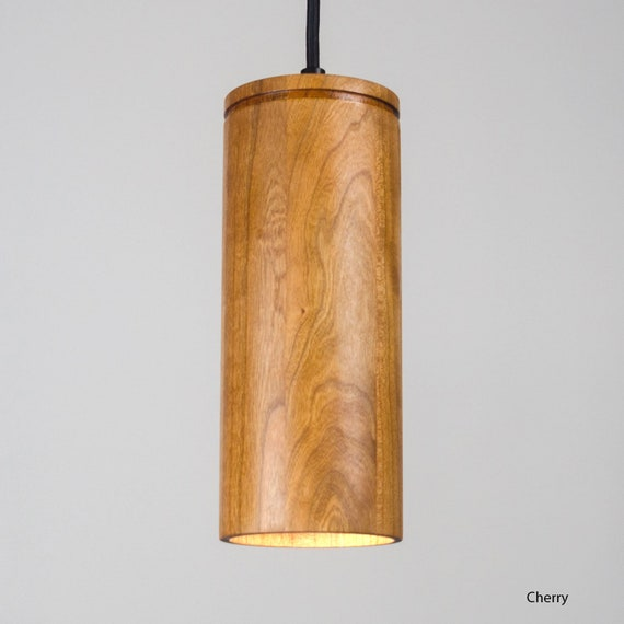 Cylinder Pendant Light Ul Listed Wood Light Minimal Etsy