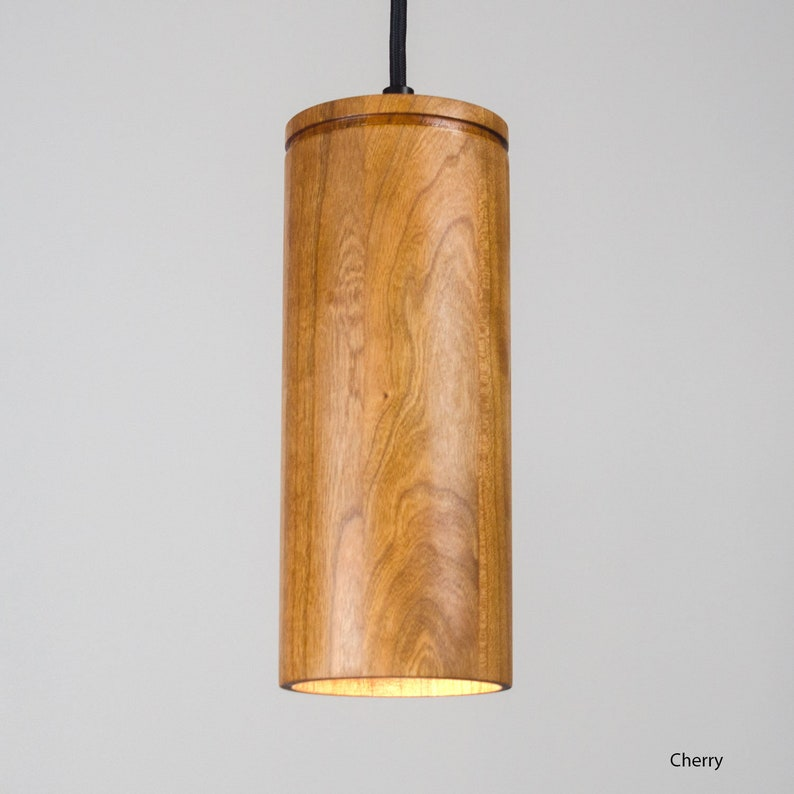 Cylinder Pendant Light, UL Listed | Wood light, Minimal Lighting, Available  in Walnut, Mahogany, Cherry, Oak, Ash, Maple