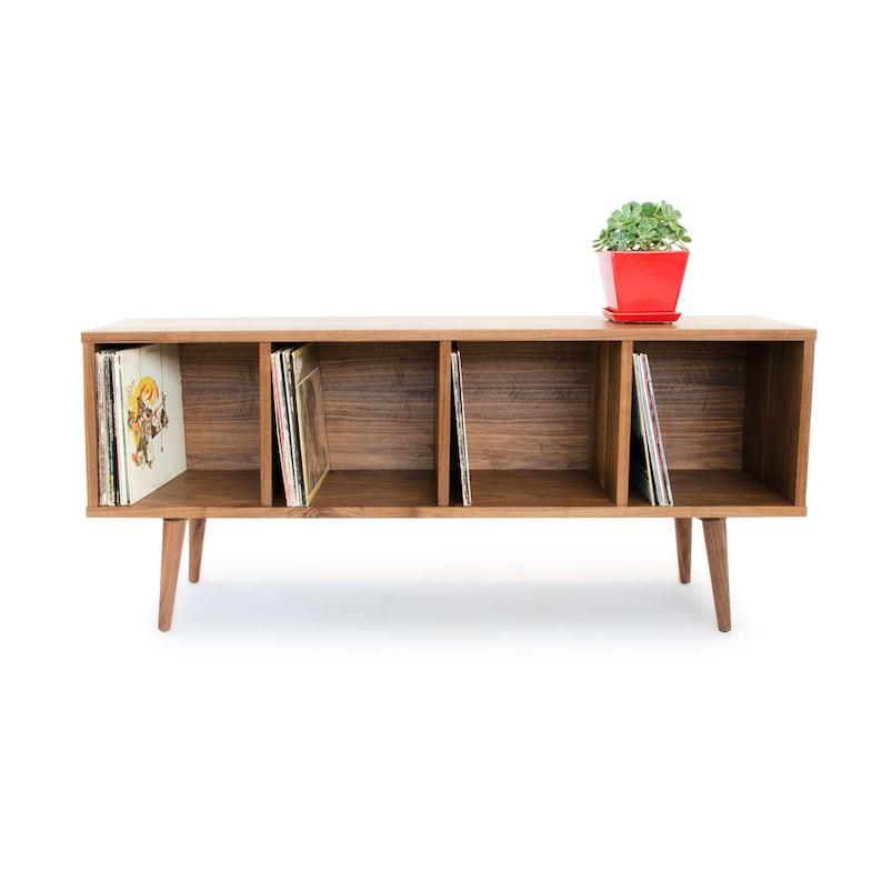 Record Storage Credenza   Store Your Vinyl Records   Mid Century Modern    Solid Wood Media Organizer   Vinyl Storage   Walnut, Oak, Cherry