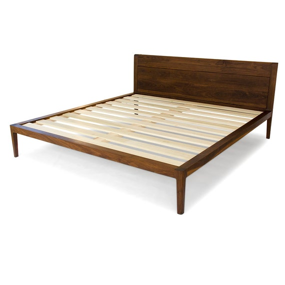Walnut Platform Bed No. 1 Modern Wood Bed Frame Twin | Etsy