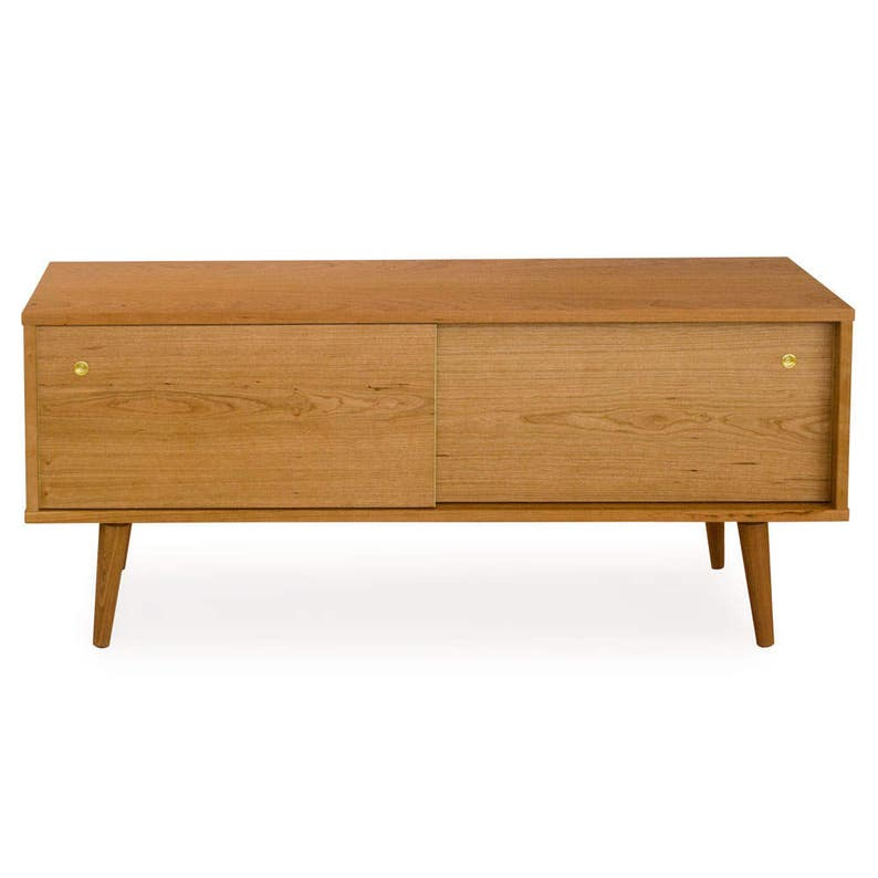 Solid Wood Media Console MCM Inspired Credenza with Sliding Doors Danish Modern Design Mid Century Credenza Entertainment Center