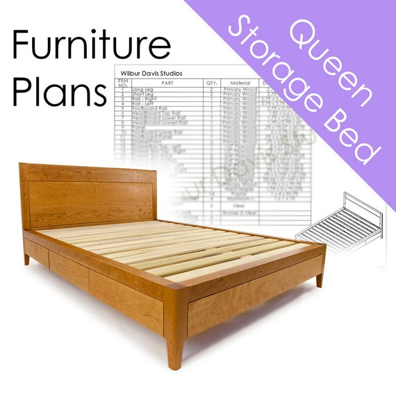 Storage Bed Plans Queen Size Bed With Drawers Platform Bed Etsy
