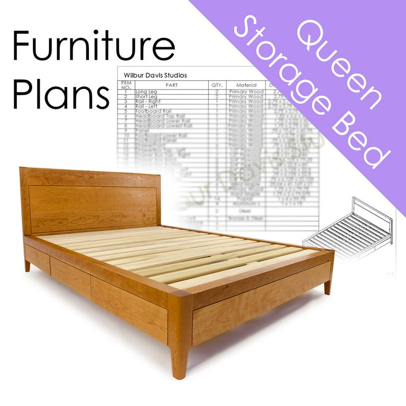 Storage Bed Plans Queen Size Bed With Drawers Platform Bed No 2 Measured Drawing And Cut List Furniture Designs Woodworking Plans