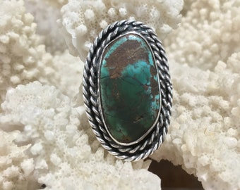 Genuine turquoise earth ring