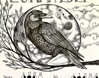 2021 Lunar Calendar Illustrated Crow Moon Phases of The Year