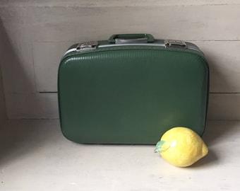 Hardside Vintage Suitcase | Avocado Green Vintage Luggage | Day Trip Luggage | Retro Travel | Home Storage | Home Organization