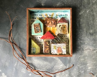 Houses Encaustic Painting, Little Village Painting, Shadowbox Frame with Original Art, Mixed Media Encaustic with Handmade Ceramic Tiles