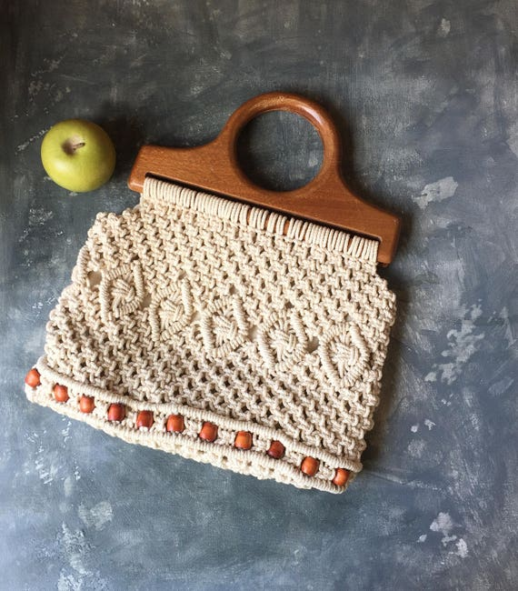 Macrame Purse | 1970s Vintage Macrame Tote With Wo