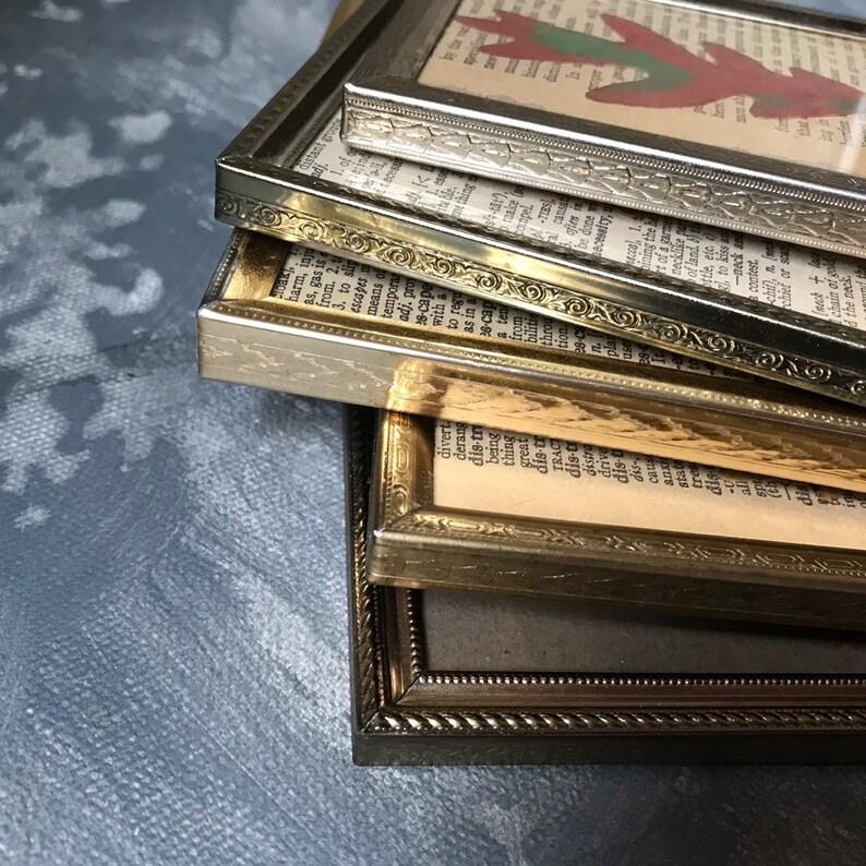 Vintage Brass Photo Frame Instant Collection Botanical Metal Photo Frame Set of 5 Easel Back Picture Frames Wedding Decor