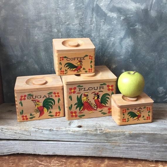 Rooster Wooden Kitchen Canisters Vintage Four Piece Set Of