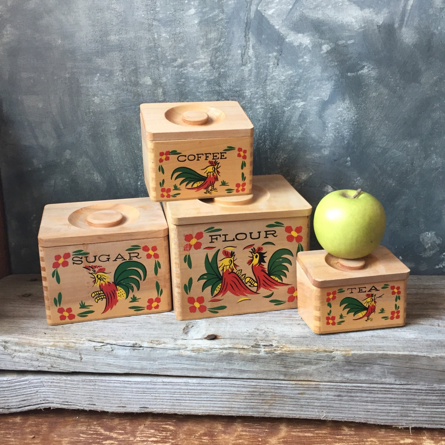 wooden canisters kitchen rooster wooden kitchen canisters vintage four piece set of etsy 3942