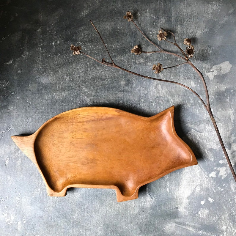 Hand Carved Wooden Pig Serving Tray Vintage Wooden Pig Platter Farmhouse Country Decor