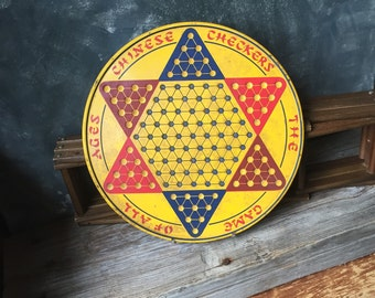 Vintage Chinese Checker Board | Tin Litho Chinese Checker Board Game | Round Yellow Tin Chinese Checker Board | Rustic Industrial Wall Art