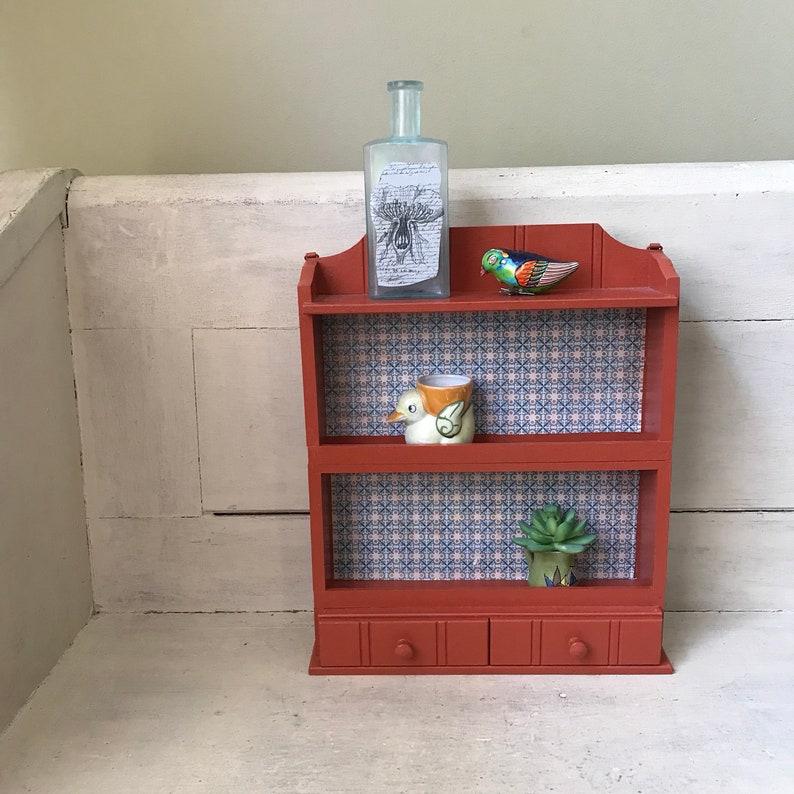 Vintage Three Tier Spice Rack Painted Wood Wall Shelf Display Rack Farmhouse Kitchen Storage Shelf Orange Spice Rack with Drawers