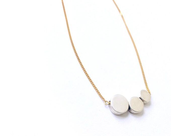 Collar TROIS/Tres Círculos de Plata/ cadena chapada de oro/personalizado/ .