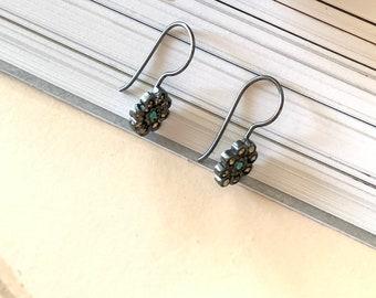 Gift for her/ Marcasite flower earrings/ Sterling silver/ tarnished/ ROSITA