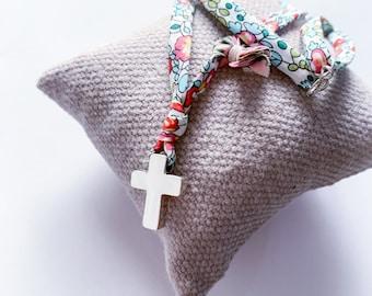First Communion cross necklace/Liberty ribbon/ girls/personalized/HOPE.