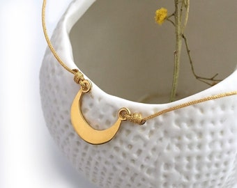 Half Moon Personalized Gold Cord Necklace
