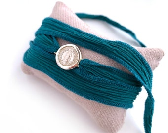 Mother's Day gift/ Our Lady of Guadalupe Bracelet/ silk/ Sterling silver/LUPITA SILK