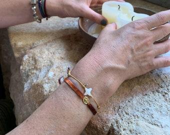 Miraculous Medal Bracelet/ vermeil/ velvet stretch cord/ MADONNINA Velvet