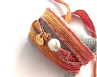Wrap bracelet/Pearl and Silk ribbon/ personalized.