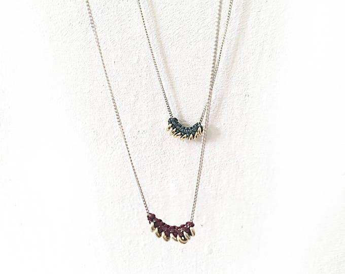 Collar TAIPEI/ Macramé y Plata/ cadena