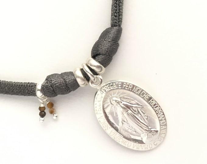 Collar Medalla Milagrosa/ 17mm/plata/ piedras marrón ojo de tigre/nueva colección