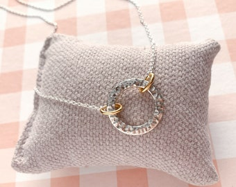 Sterling silver necklace/engravable hammered circle/chain/MARINA.